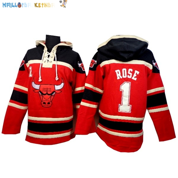 Hoodies NBA Chicago Bulls NO.1 Rose Rouge Pas Cher