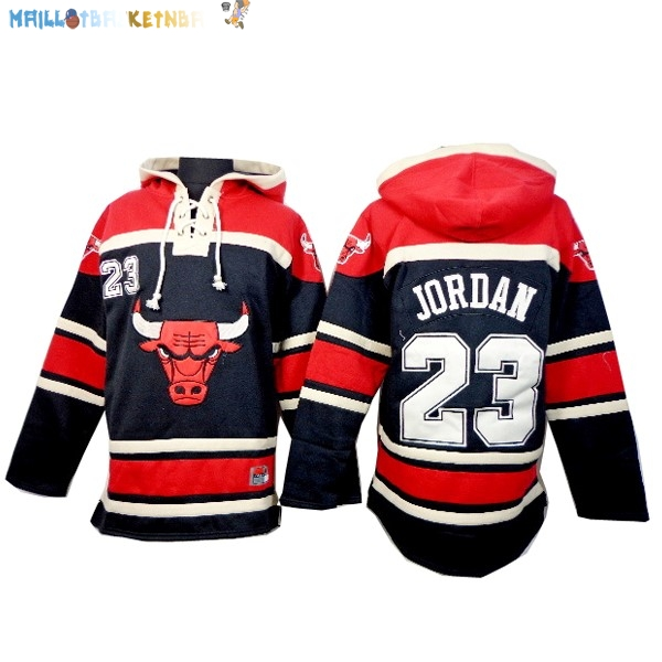 Hoodies NBA Chicago Bulls NO.23 Jordan Noir Rouge Blanc Pas Cher