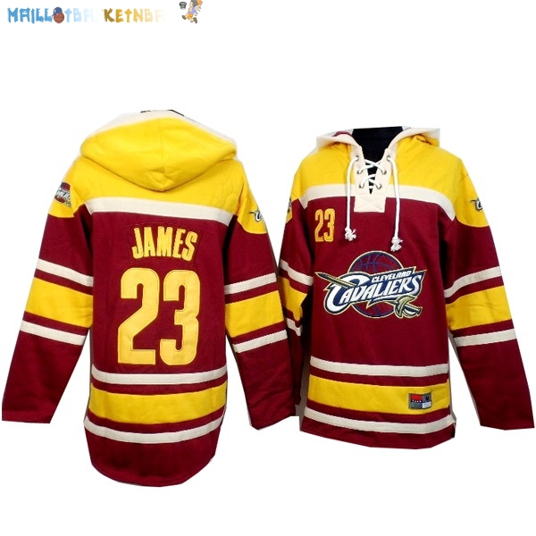 Hoodies NBA Cleveland Cavaliers NO.23 Lebron James Rouge Jaune Pas Cher