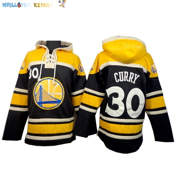 Hoodies NBA Golden State Warriors NO.30 Curry Noir Jaune Pas Cher