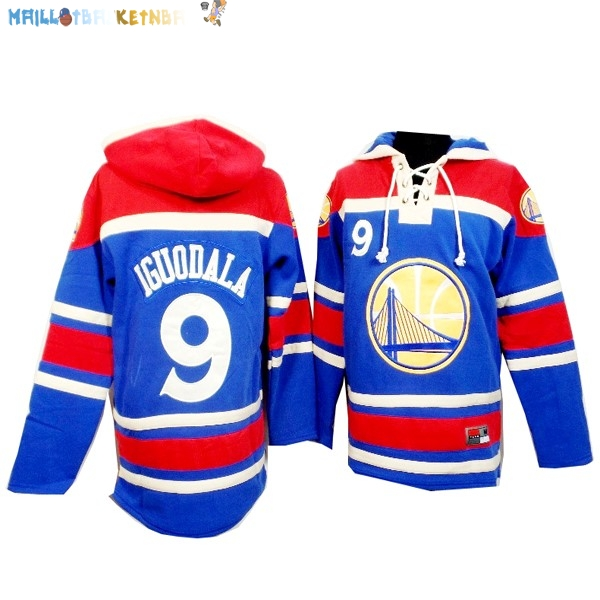 Hoodies NBA Golden State Warriors NO.9 Andre Iguodala Bleu Rouge Pas Cher
