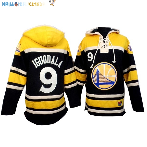 Hoodies NBA Golden State Warriors NO.9 Andre Iguodala Noir Jaune Pas Cher