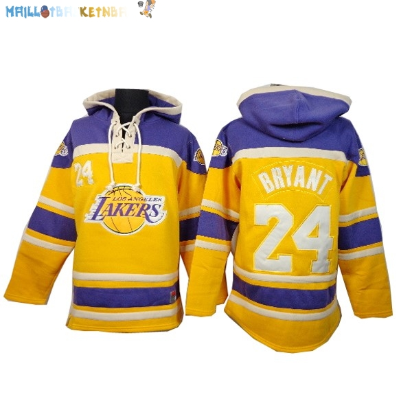 Hoodies NBA Los Angeles Lakers NO.24 Kobe Bryant Jaune Pas Cher