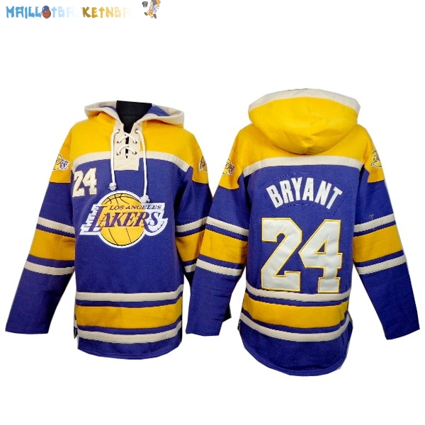 Hoodies NBA Los Angeles Lakers NO.24 Kobe Bryant Jaune Pourpre Pas Cher