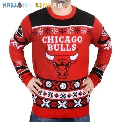 NBA Unisex Ugly Sweater Chicago Bulls Rouge Pas Cher