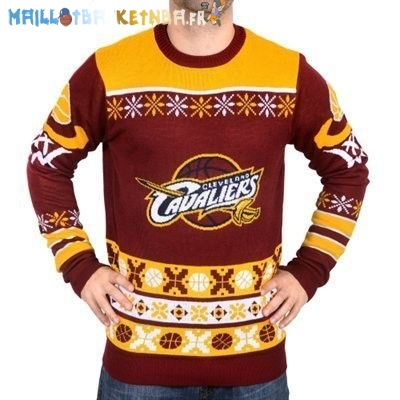NBA Unisex Ugly Sweater Cleveland Cavaliers Rouge Jaune Pas Cher