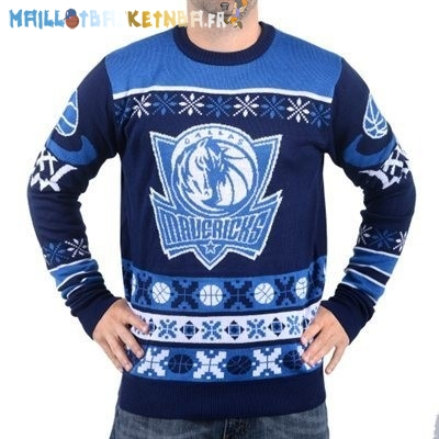 NBA Unisex Ugly Sweater Dallas Mavericks Bleu Pas Cher