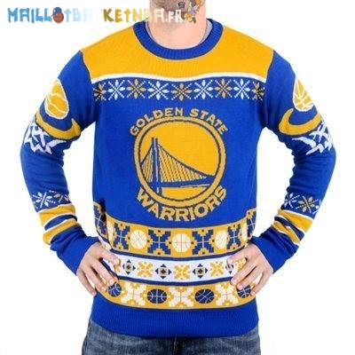 NBA Unisex Ugly Sweater Golden State Warriors Bleu Pas Cher