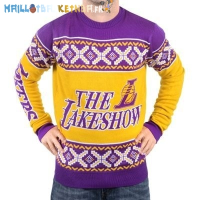 NBA Unisex Ugly Sweater Los Angeles Lakers Jaune Pourpre Pas Cher