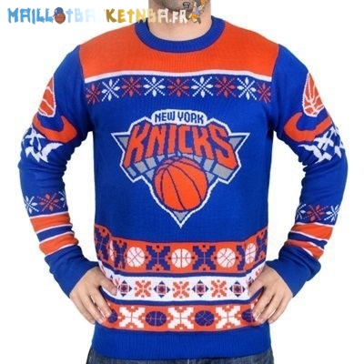 NBA Unisex Ugly Sweater New York Knicks Bleu Pas Cher