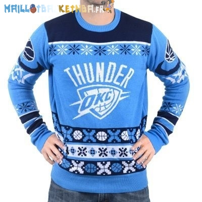 NBA Unisex Ugly Sweater Oklahoma City Thunder Bleu Pas Cher