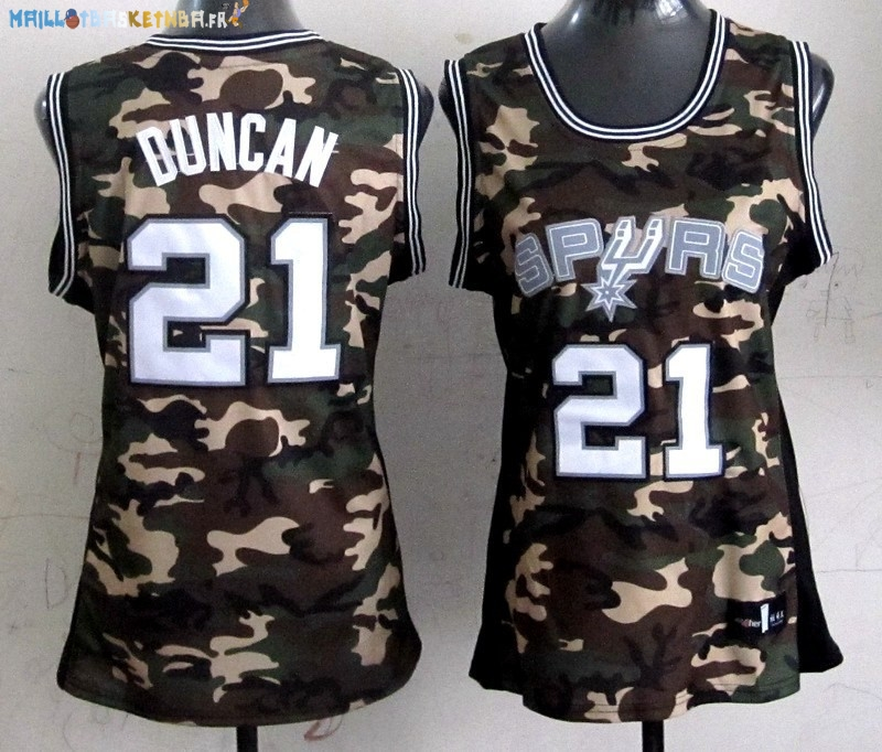 Maillot NBA Femme 2013 Camouflage Fashion NO.21 Tim Duncan Pas Cher