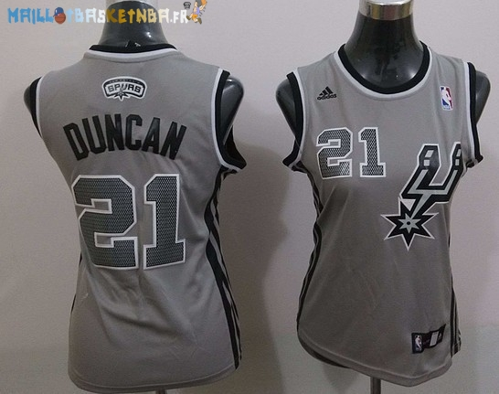 Maillot NBA Femme 2013 Static Fashion NO.21 Tim Duncan Gris Pas Cher