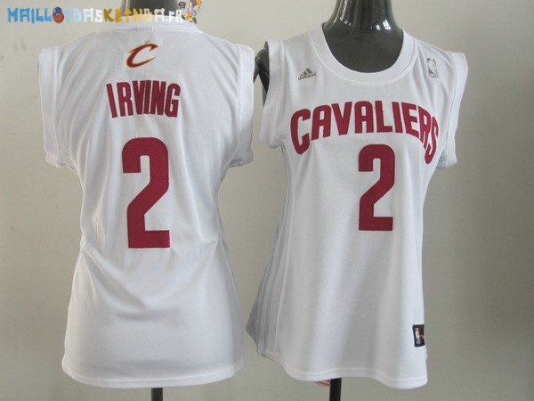 Maillot NBA Femme Cleveland Cavaliers NO.2 Kyrie Irving Blanc Rouge Pas Cher