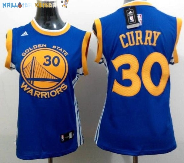 Maillot NBA Femme Golden State Warriors NO.30 Stephen Curry Bleu Jaune Pas Cher