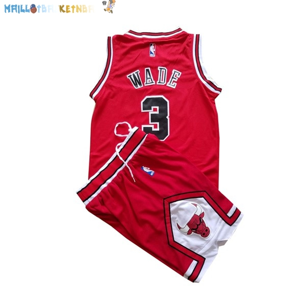 Maillot NBA Enfants Chicago Bulls NO.3 Dwyane Wade Rouge Pas Cher