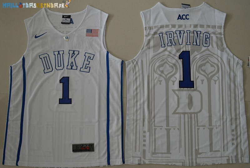Maillot NCAA Duke NO.1 Kyrie Irving Blanc Pas Cher