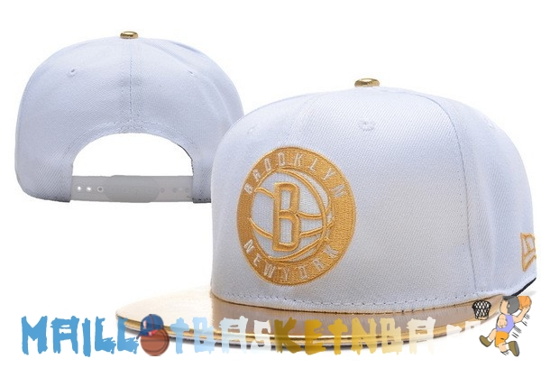Casquette Snapback NBA 2016 Brooklyn Nets Blanc Or Pas Cher