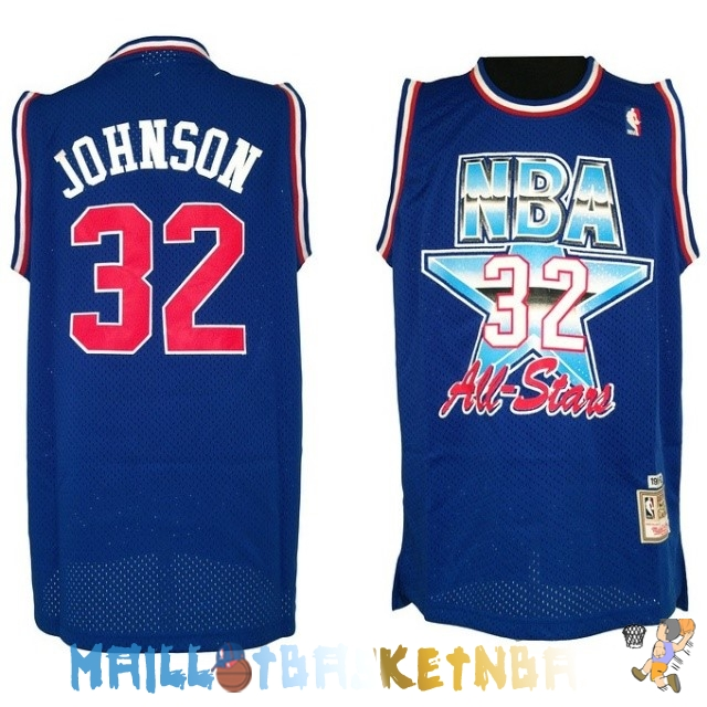 Maillot NBA 1992 All Star NO.32 Joe Johnson Bleu Pas Cher