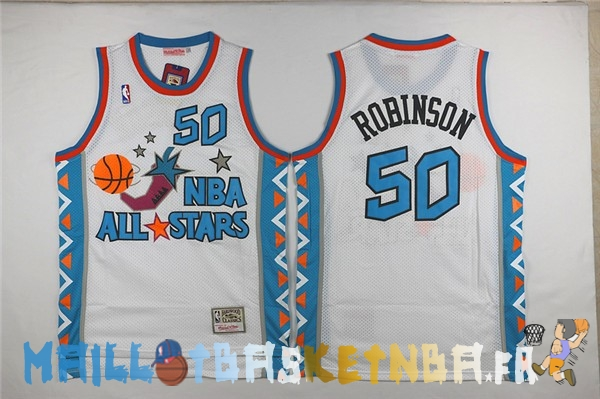 Maillot NBA 1996 All Star NO.50 David Robinson Blanc Pas Cher