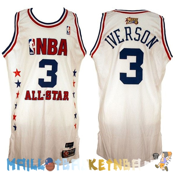 Maillot NBA 2003 All Star NO.3 Allen Iverson Blanc Pas Cher