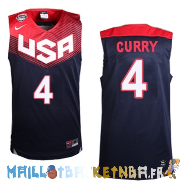 Maillot NBA 2014 USA Curry NO.4 Noir Pas Cher