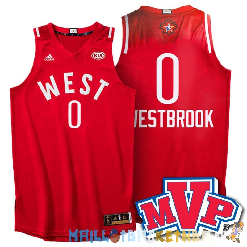 Maillot NBA 2016 All Star NO.0 Russell Westbrook Rouge Pas Cher