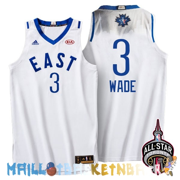 Maillot NBA 2016 All Star NO.3 Dwyane Wade Blanc Pas Cher