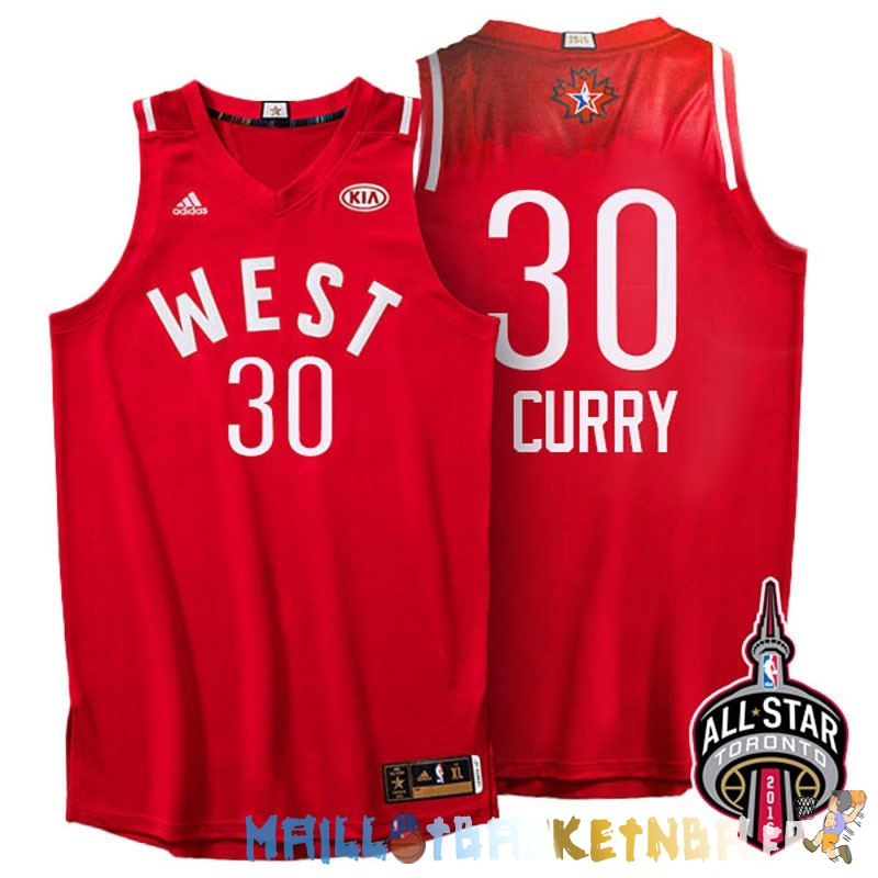 Maillot NBA 2016 All Star NO.30 Stephen Curry Rouge Pas Cher