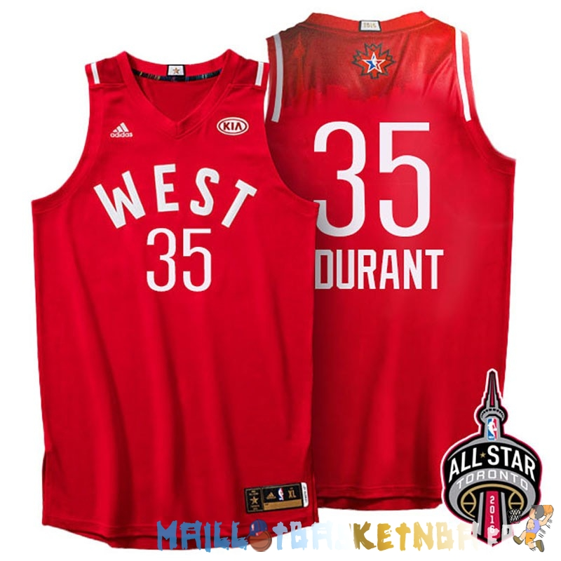 Maillot NBA 2016 All Star NO.35 Kevin Durant Rouge Pas Cher