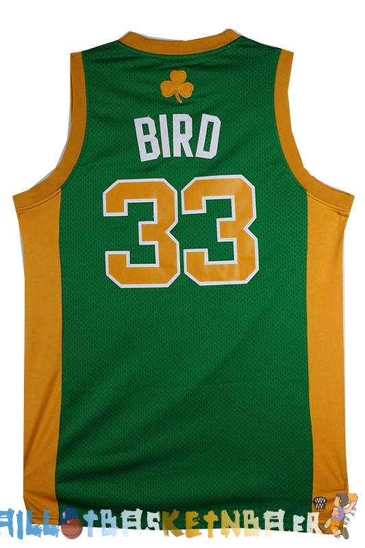 Maillot NBA Boston Celtics NO.33 Larry Joe Bird Vert Orange Pas Cher