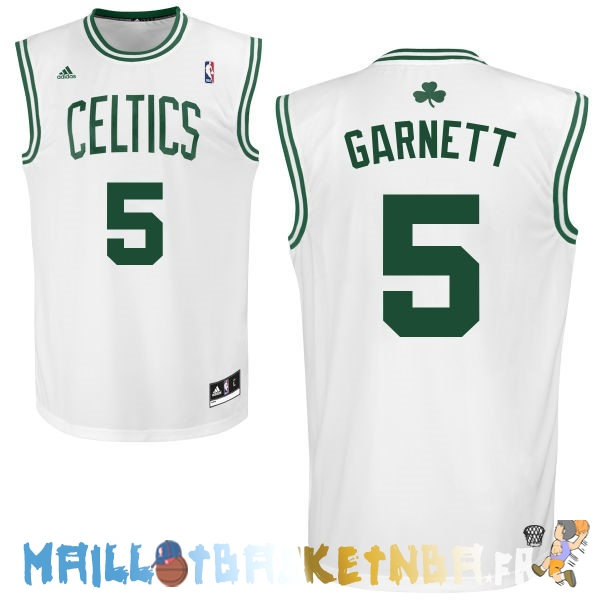 Maillot NBA Boston Celtics NO.5 Kevin Garnett Blanc Pas Cher