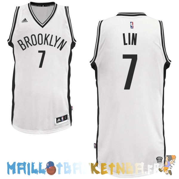 Maillot NBA Brooklyn Nets NO.7 Jeremy Lin Blanc Pas Cher