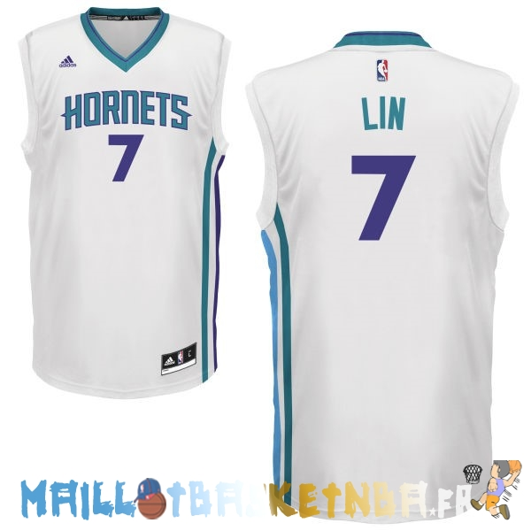 Maillot NBA Charlotte Hornets NO.7 Jeremy Lin Blanc Pas Cher