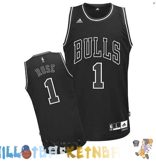 Maillot NBA Chicago Bulls NO.1 Derrick Rose Noir Pas Cher