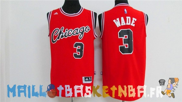 Maillot NBA Chicago Bulls NO.3 Dwyane Wade 2016 Rouge Pas Cher