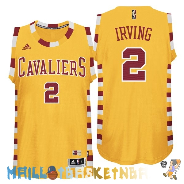 Maillot NBA Cleveland Cavaliers NO.2 Kyrie Irving Jaune Dentelle Pas Cher