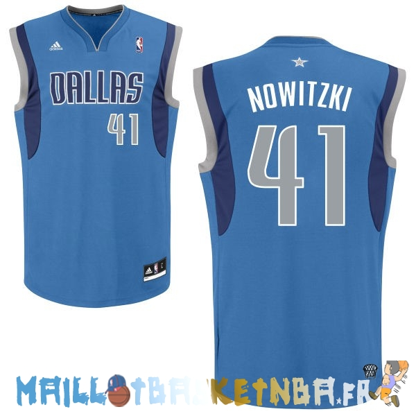 Maillot NBA Dallas Mavericks NO.41 Dirk Nowitzki Bleu Pas Cher