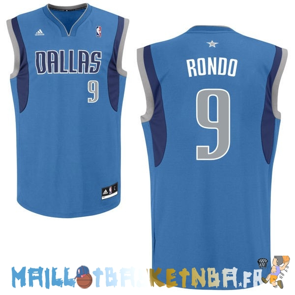Maillot NBA Dallas Mavericks NO.9 Rajon Rondo Bleu Pas Cher
