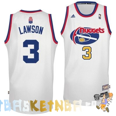Maillot NBA Denver Nuggets ABA NO.3 Lawson Blanc Pas Cher