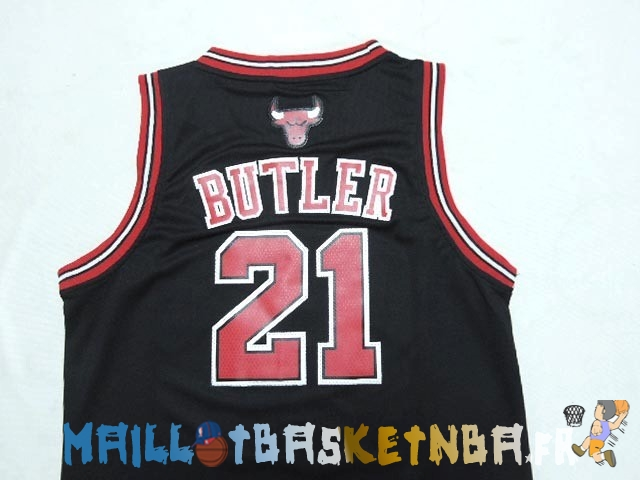 Maillot NBA Enfants Chicago Bulls NO.21 Jimmy Butler Noir Pas Cher