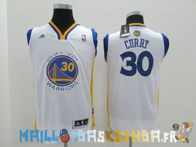 Maillot NBA Enfants Golden State Warriors NO.30 Stephen Curry Blanc Pas Cher