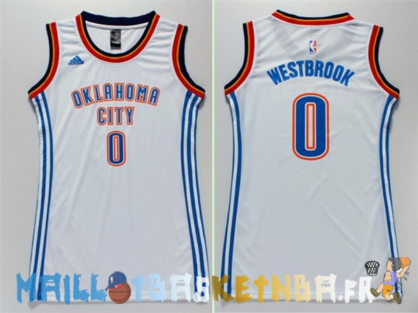 Maillot NBA Femme Oklahoma City Thunder NO.0 Russell Westbrook Blanc Pas Cher