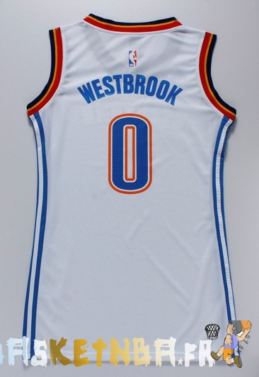 maillot nba femme oklahoma city thunder no 0 russell westbrook blanc pas cher basket pas cher. Black Bedroom Furniture Sets. Home Design Ideas