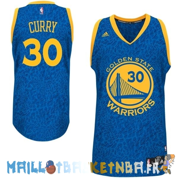 Maillot NBA Golden State Warriors Lumière Leopard NO.30 Curry Bleu Pas Cher