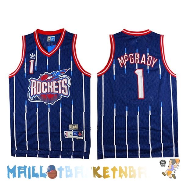 Maillot NBA Houston Rockets NO.1 Tracy McGrady Retro Bleu Pas Cher