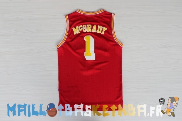 Maillot NBA Houston Rockets NO.1 Tracy McGrady Retro Rouge Or Pas Cher