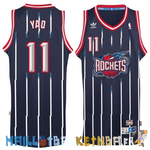 Maillot NBA Houston Rockets NO.11 Yao Ming Retro Bleu Pas Cher