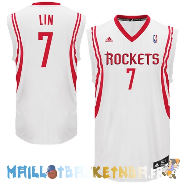 Maillot NBA Houston Rockets NO.7 Jeremy Lin Blanc Pas Cher