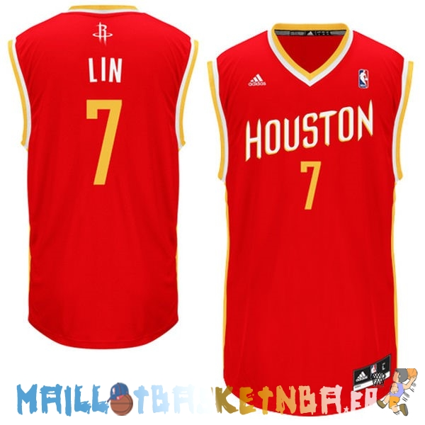 Maillot NBA Houston Rockets NO.7 Jeremy Lin Retro Rouge Pas Cher